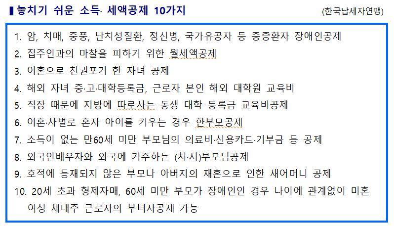 190123[보도자료]'놓치기 쉬운 소득·세액공제 10가지' 발표.JPG
